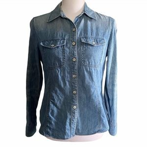 Talbots Denim Chambray Long Sleeve Button Up